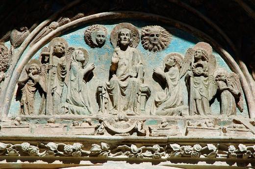Tympanum of ´Puerta del Perdón´. Santa María de los Sagrados Corporales, Daroca. Zaragoza province, Aragón, Spain : Stock Photo
