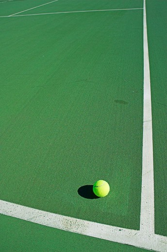 Tennis ball in green hard court. : Stock Photo