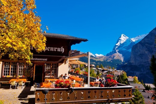 Stock Photo: 1566-675744 Murren, in the Swiss Alps, with the Eiger behind, Canton Bern, Switzerland