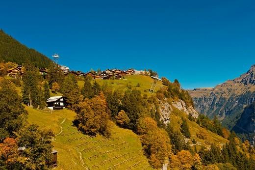 Stock Photo: 1566-675772 View from Murren, Swiss Alps, Canton Bern, Switzerland