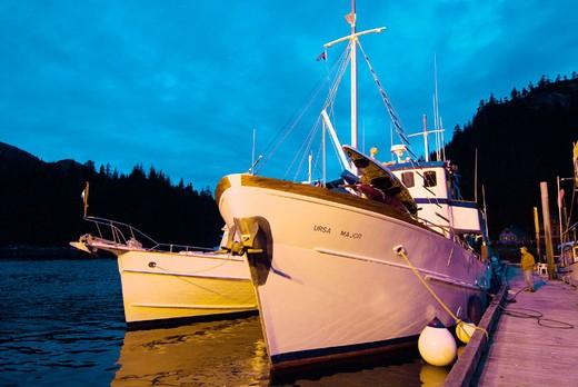 View of the Ursa Major docked at Baranof Warm Springs at twilight, Baranof Island, Southeast Alaska : Stock Photo