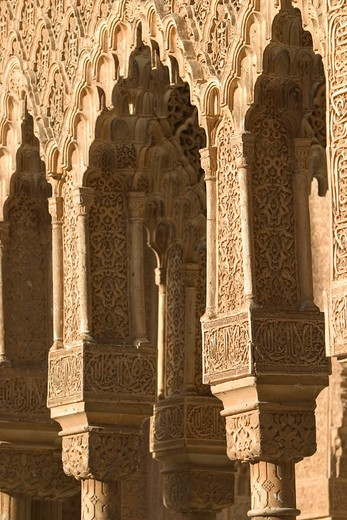 Detail of chapiters at Court of the Lions, Alhambra. Granada. Andalusia, Spain : Stock Photo