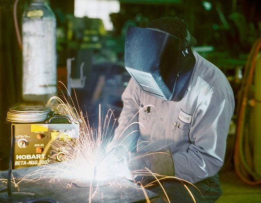 Welder in Welding Shop, Tustin, California : Stock Photo