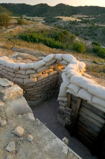 Stock Photo: 1566-677163 ´Orwell´ Trench reconstructed of the Spanish Civil War. Sierra de Alcubierre, Alcubierre, Huesca, Aragon, Spain.