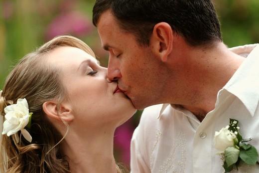 wedding couple kissing : Stock Photo