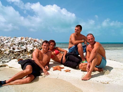 Stock Photo: 1566-679267 People on beach, Los Roques. Venezuela