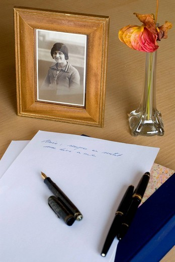 Portrait, letter and flower. : Stock Photo