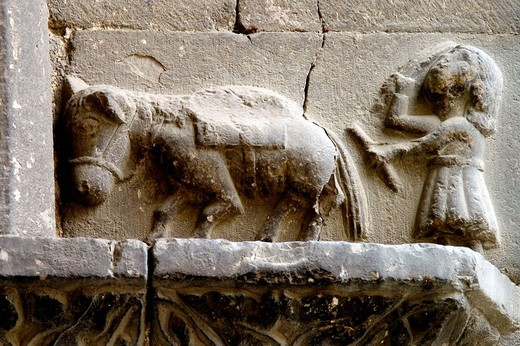 Stock Photo: 1566-680722 Tilling scene, relief at St. Mary´s church, Puigcerda. Girona province, Catalonia, Spain