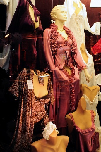 Turkey, Istanbul, Eminoenue, Spice Bazaar, Egyptian Bazaar, Window Display of Lingerie : Stock Photo