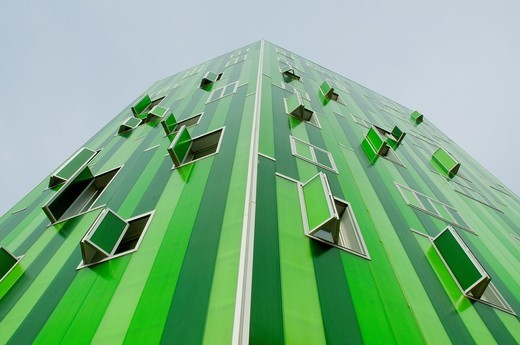 Facade of Vallecas 51 building, view from below. Madrid, Spain. : Stock Photo