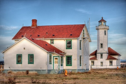 Point Wilson Lighthouse at golden hour : Stock Photo
