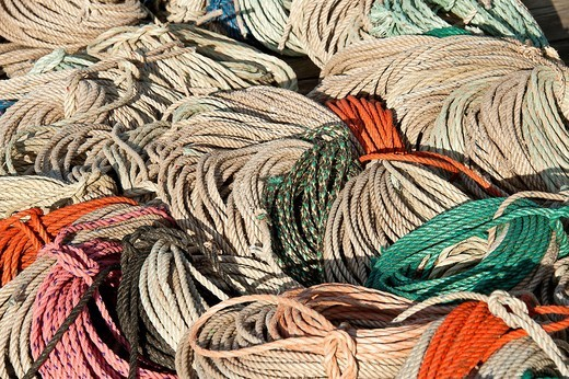 Fishermans rope on dock, Maine, ME, USA : Stock Photo