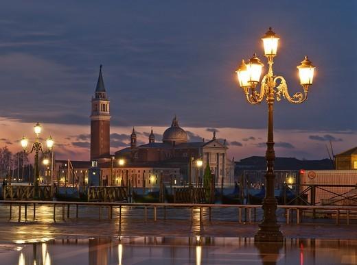 View of Lido island and gondolas at sunrise, Venice, Italy, Europe : Stock Photo