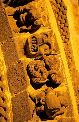 Leyre monastery  Puerta Speciosa, romanesque  Navarra  Spain  The way of St  James : Stock Photo
