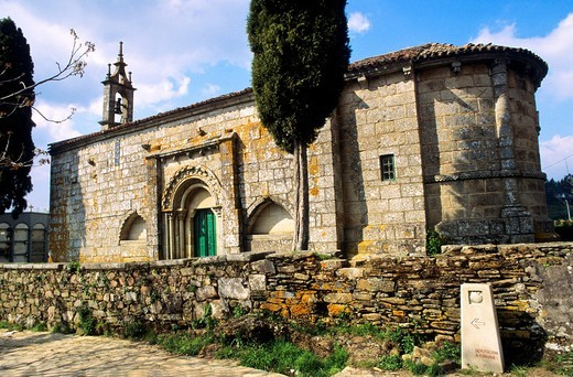 Stock Photo: 1566-683448 Santa Maria church  13 th century  The Way of Saint James  Meilde  La Coruña  Galicia  Spain