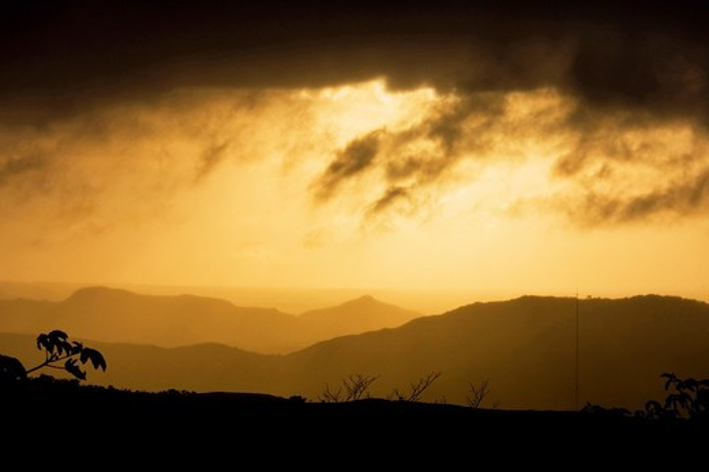 Stock Photo: 1566-683757 Sunset at Omar Torrijos National Park, Panamá