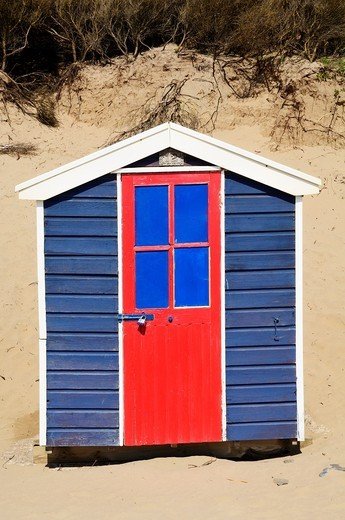 Beach hut at Saunton Sands beach at Saunton near Braunton on the North Devon coast, England, United Kingdom : Stock Photo