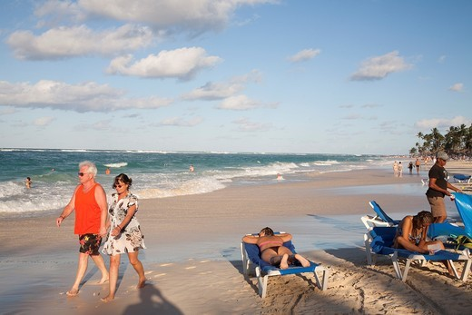 america, caribbean sea, hispaniola island, dominican republic, punta cana, hotel barcelo punta cana, beach : Stock Photo