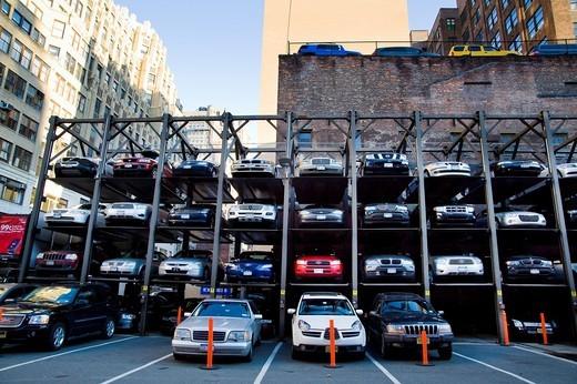 Multi level open space car parking  Manhattan, New York City, United States : Stock Photo