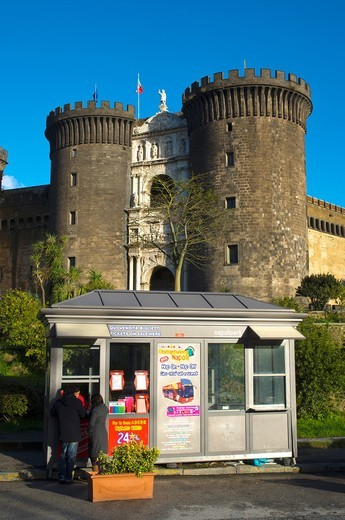 Ticket booth for sightseeing tour bus in front Castel Nuovo fortress Naples Campania Italy Europe : Stock Photo