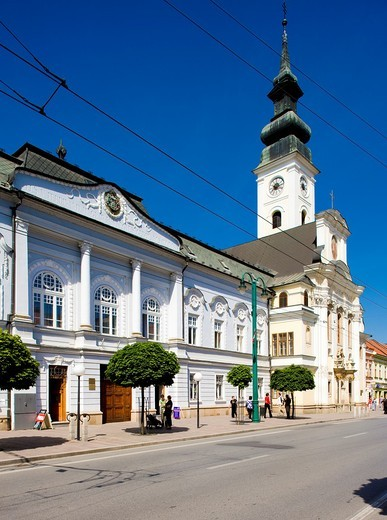 episcopal palace and church of St  John Baptist Greek catholic, Presov, Slovakia : Stock Photo