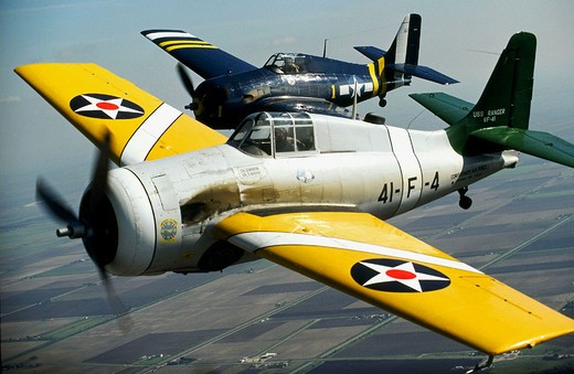 Stock Photo: 1566-686226 Two Grumman F4F Wildcat, Second World War American carrier-based fighters