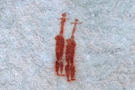 Stock Photo: 1566-686264 Painting of two dancing ladies, rock painting by San population, Sevilla Rock Art Trail, Bushmans Kloof Wilderness Reserve, Cederberg mountains, South Africa