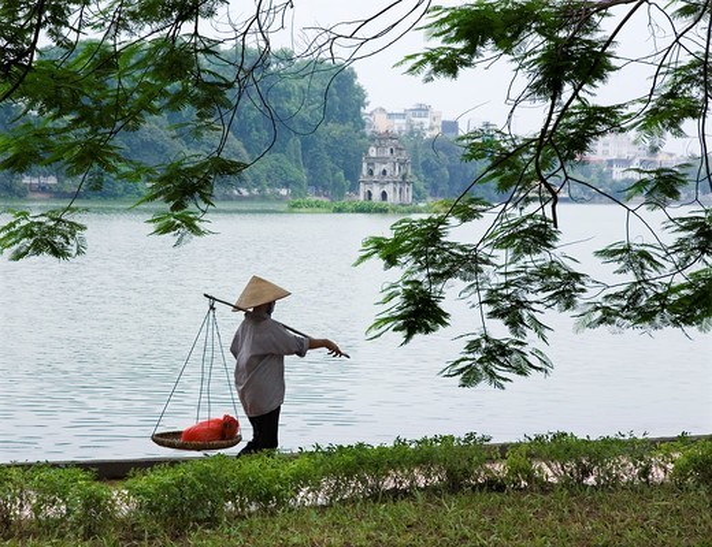 Stock Photo: 1566-686477 Turtle tower in Hoan Kiem Lake  Hanoi, Vietnam