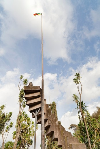 Park of the University in Addis Ababa  Monument commemorating the occupation of Ethiopia by italian forces  Initially it was buildt by the italians, each step of the stairs commemorates one year of Mussolini in power  After liberation of ethiopia a lion o : Stock Photo