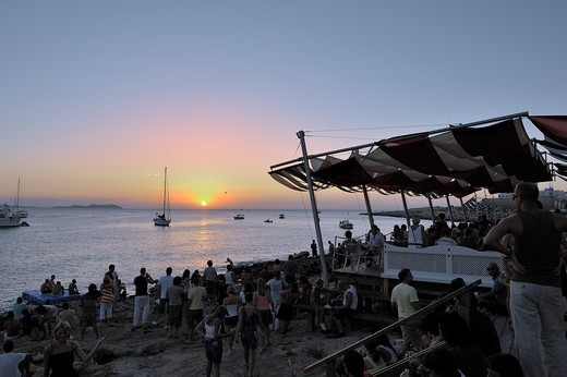 Sant Antoni beach at sunset, Ibiza, Balearic Islands, Spain : Stock Photo