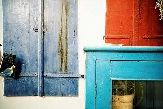 detalle de la decoración interior y muebles de una típica casa menorquina, Ciutadella de Menorca, Islas Baleares : Stock Photo