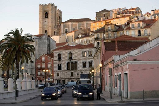 Stock Photo: 1566-689052 On background Santa Maria Maior, is the cathedral of Lisbon, Portugal