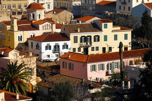 Stock Photo: 1566-689594 Neoclassical houses in Plaka, the old town of Athens Greece