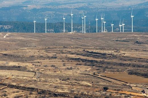 Windmills in Cantavieja  Teruel  Aragon  Spain : Stock Photo