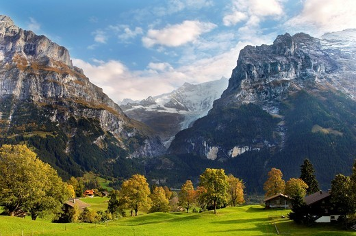 Stock Photo: 1566-692152 Swiss houses on high Alpine pastures - Grindelwald Switzerland