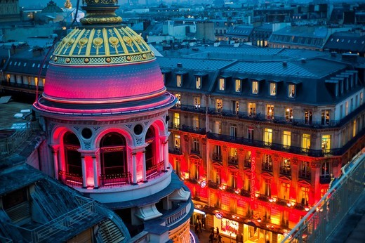Paris, France, Overview, Shopping, Printemps Department Store, Outside, Dusk , Boulevard Haussmann : Stock Photo