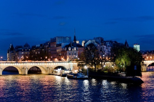 Paris, France, Seine River at Dusk Scenics : Stock Photo