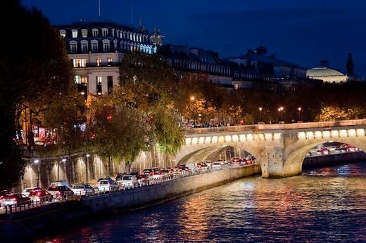 Paris, France, Seine River at Dusk Scenics : Stock Photo