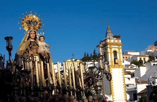 Stock Photo: 1566-692779 A wooden statue of the Virgin Carmen is publicly displayed during a Holy Week procession in the town of Prado del Rey in southern Spain´s Cadiz Sierra region in Andalucia, April 4, 2008  Easter processions in Andalucia during Holy Week are a public displa