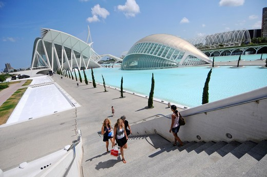 The City of Arts and Sciences - Ciudad de las Artes y las Ciencias - is a unique complex devoted to scientific and cultural dissemination  Designed by Santiago Calatrava and Félix Candela, it is the most important modern tourist destination in the city of : Stock Photo