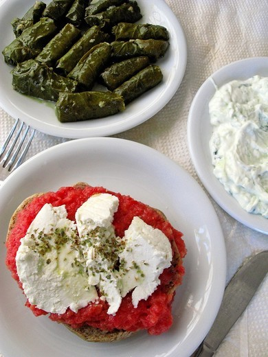 Greek Cuisine  Dakos Barley Rusk with Feta Cheese, Dolmades Vine Leaves and Tzatziki : Stock Photo