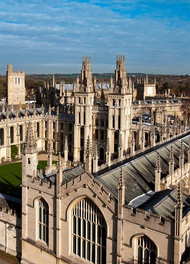 Stock Photo: 1566-693467 All Souls College seen from above  Oxford, UK