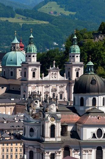 Salzburg church spires, Austria : Stock Photo