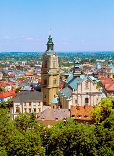 Skyline and Cathedral in Przemysl of Poland : Stock Photo