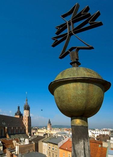 Poland Krakow City skyline from St Thomas Apostle Church : Stock Photo