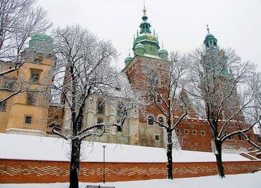 Poland, Krakow, Wawel Royal Castle and Cathedral, winter : Stock Photo