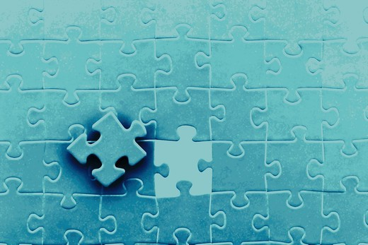digital enhancement - parts of jigsaw - symbolism for existential orientation resp  education : Stock Photo