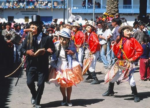 Stock Photo: 1566-695699 Peru, Paucartambo, Fiesta del Carmen festival, masked dancers,