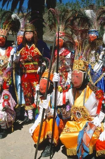 Peru, Paucartambo, Fiesta del Carmen festival, masked dancers, : Stock Photo