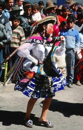 Peru, Paucartambo, Fiesta del Carmen festival, masked dancer, : Stock Photo